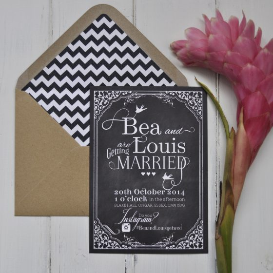 Hashtag Chalkboard Wedding Invite