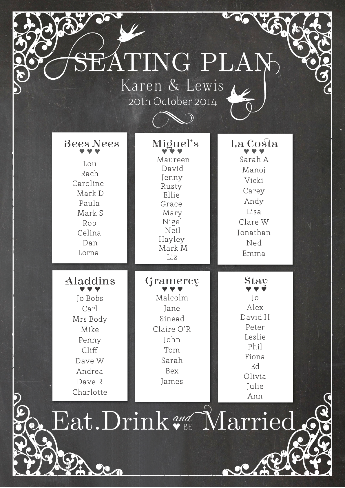 Chalkboard-Table-Plan » PaperGrace