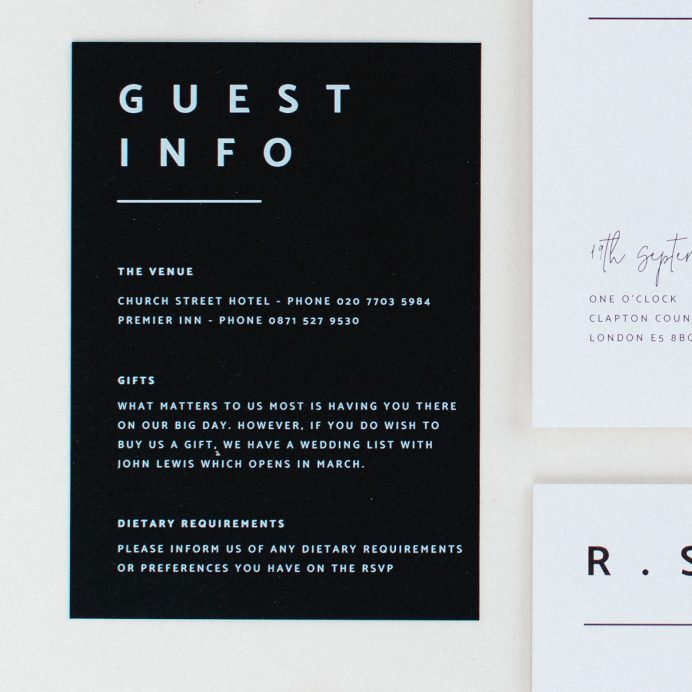 Modern Type wedding details card. Black card with white ink