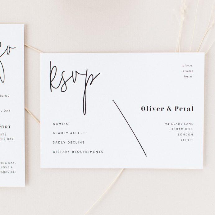 Script wedding white RSVP with black modern script font