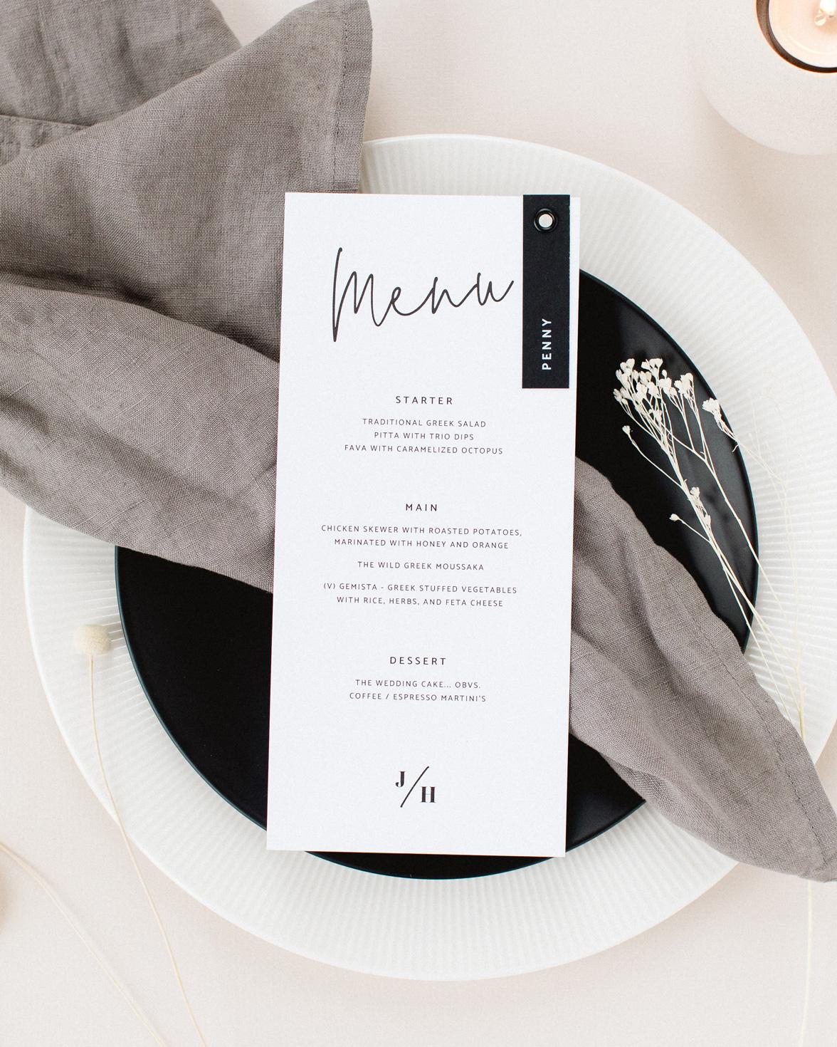 Script wedding white menu with black modern script font