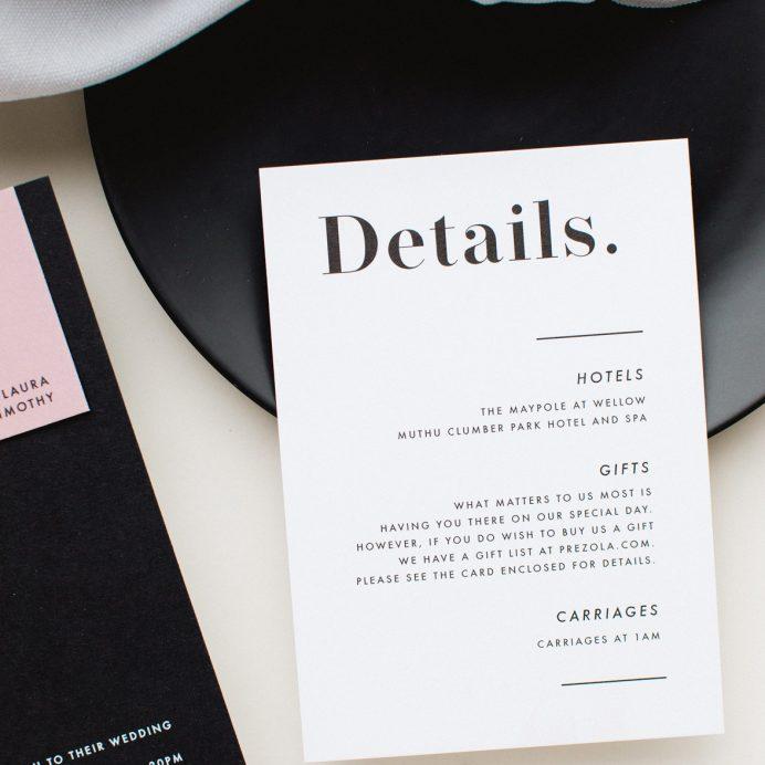 Bold Note white wedding details card