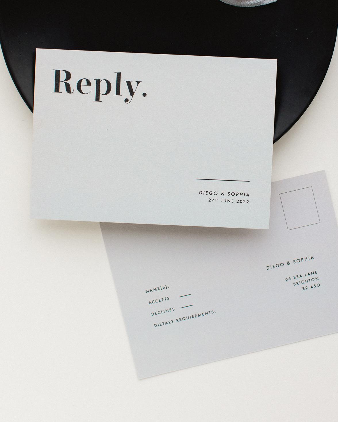 Bold Note grey wedding RSVP