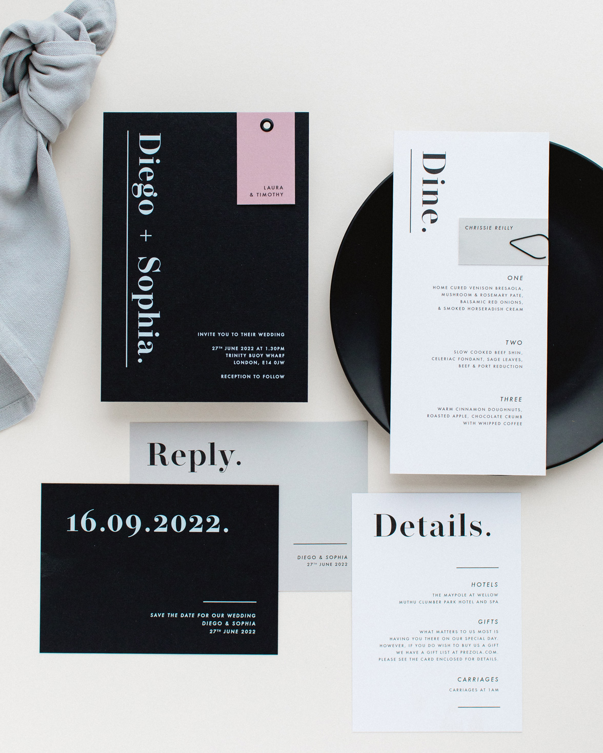 Bold Note wedding stationery collection overview