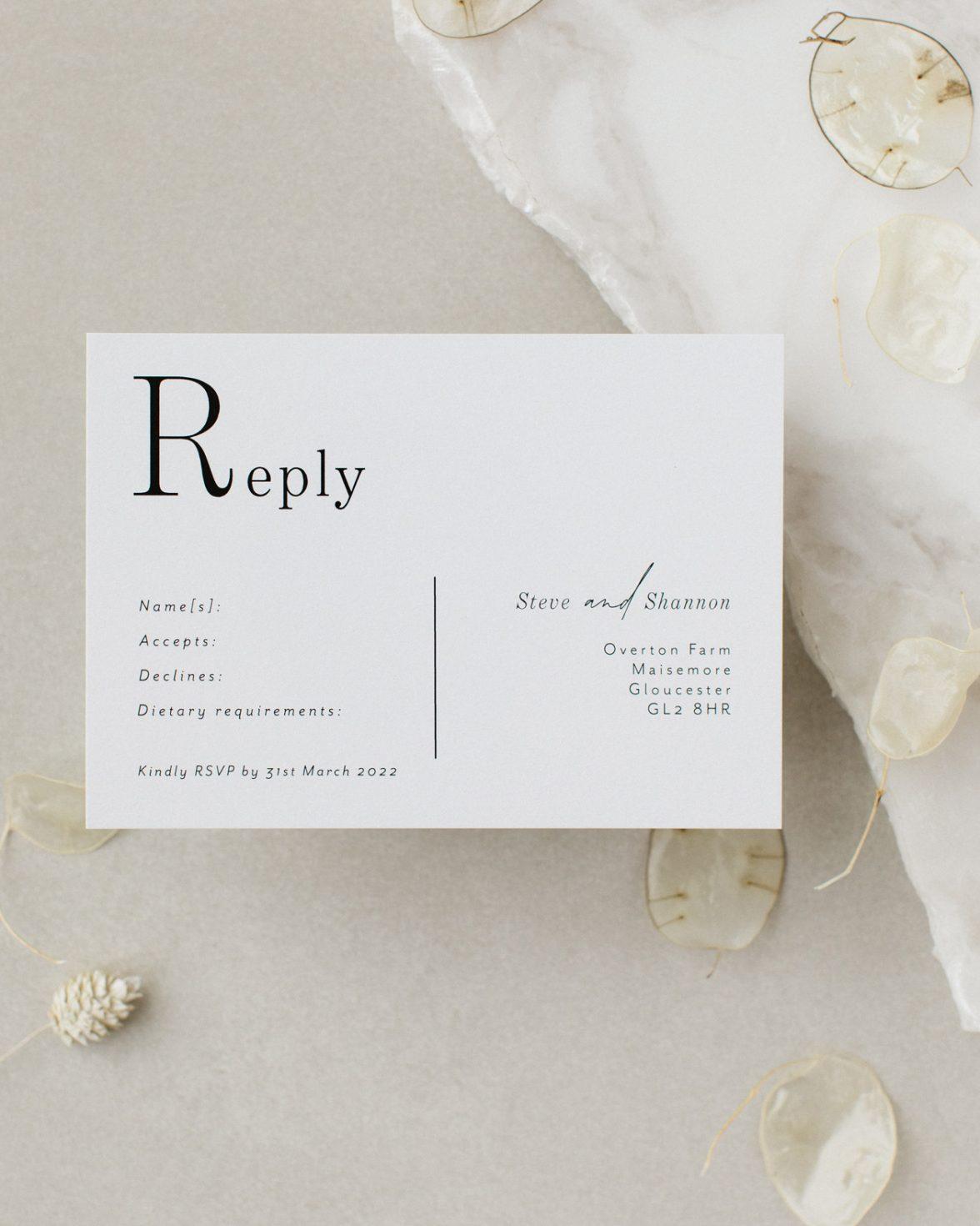Contemporary Lines Wedding RSVP