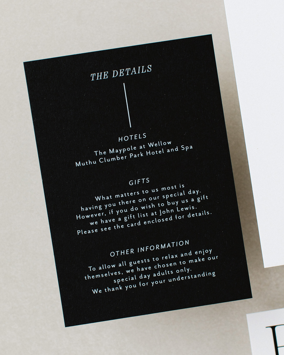 Contemporary Lines Wedding details card black card white ink