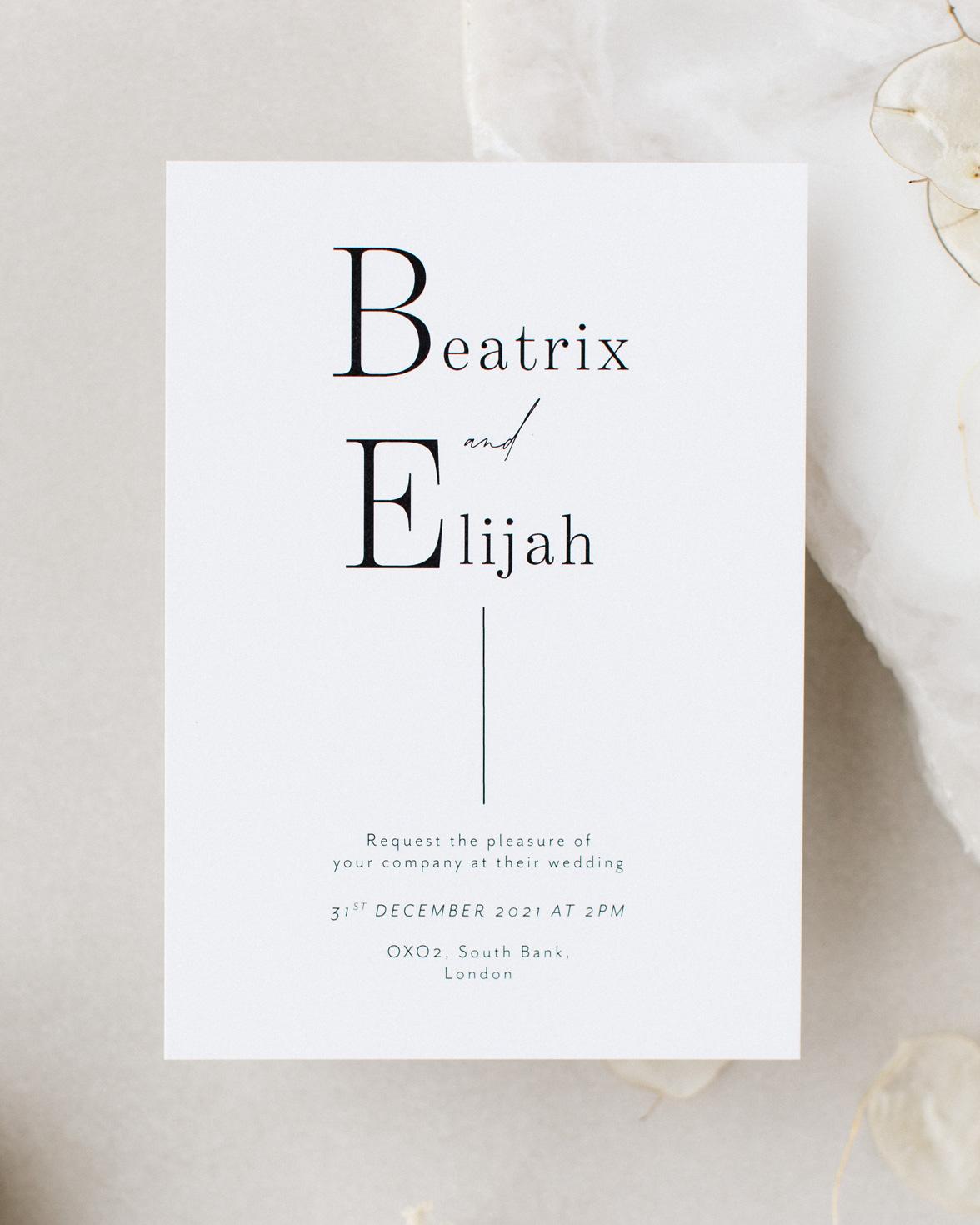 Contemporary Lines Wedding invitation