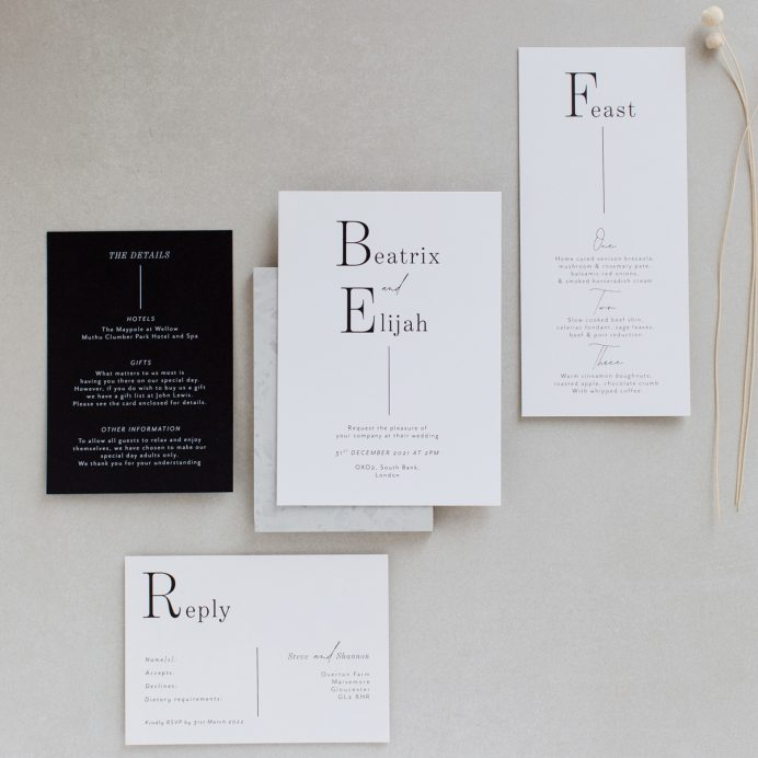 Contemporary Lines Wedding stationery overview