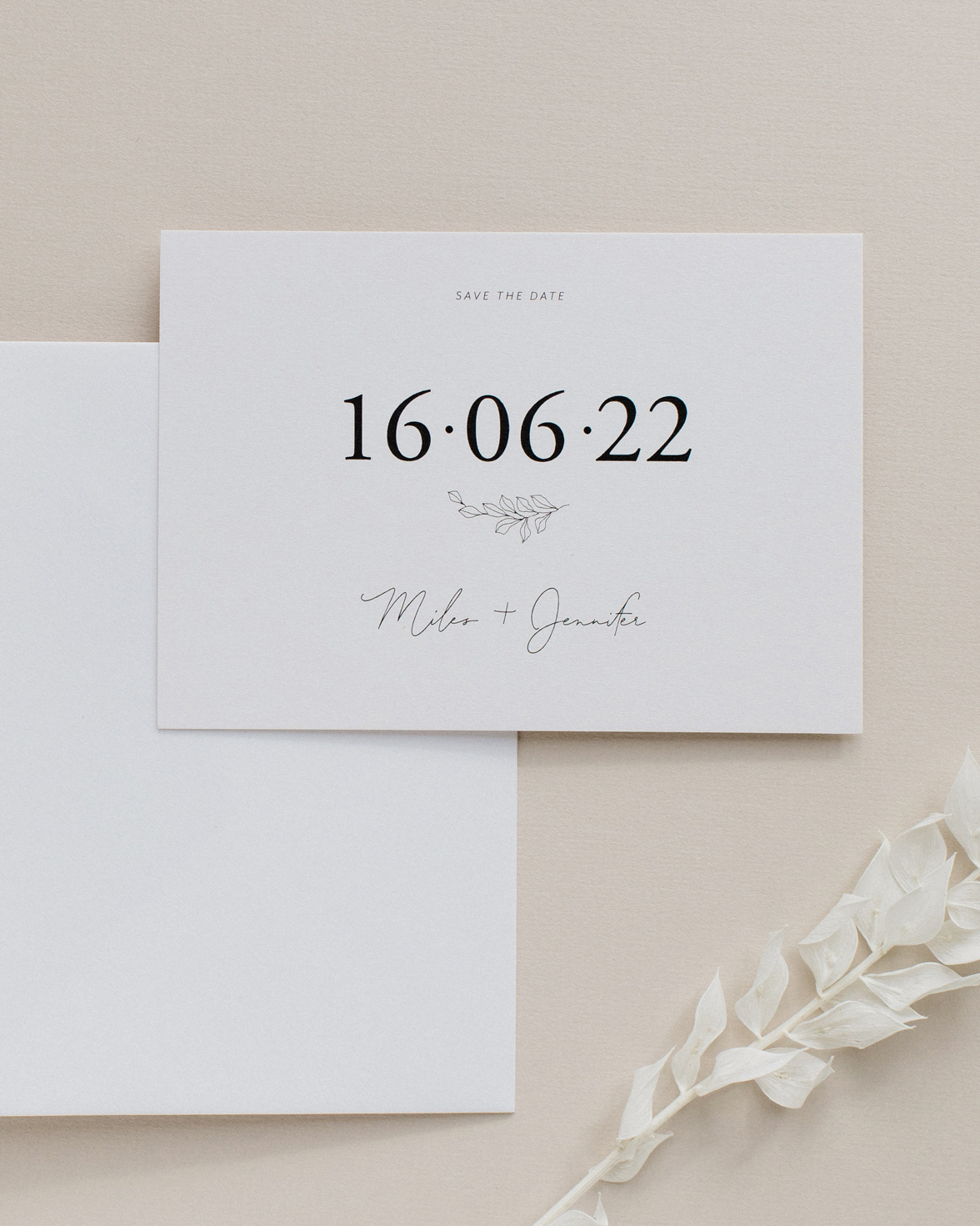Fleur Classique wedding save the date. Natural tones with hand drawn flower motif