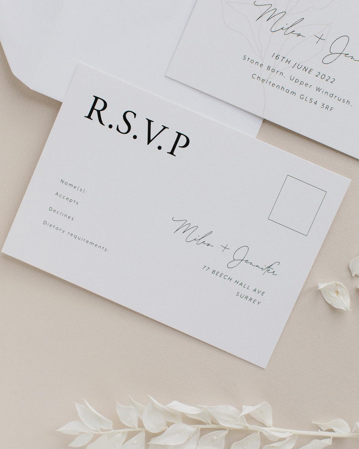Fleur Classique wedding RSVP.
