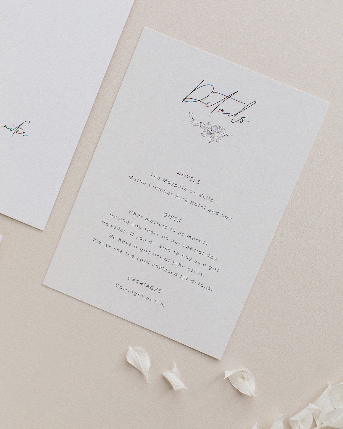 Fleur Classique wedding details card. Natural tones with hand drawn flower motif