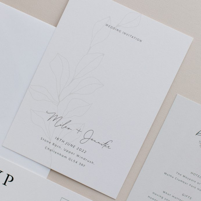 Fleur Classique wedding invitation. Natural tones with hand drawn flower motif