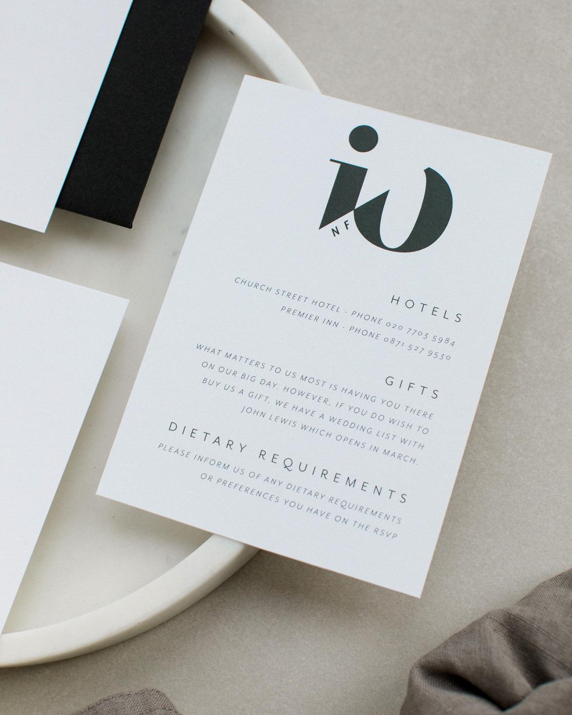Mono Due wedding information card