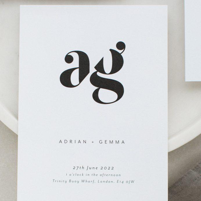 Mono Due wedding invitation