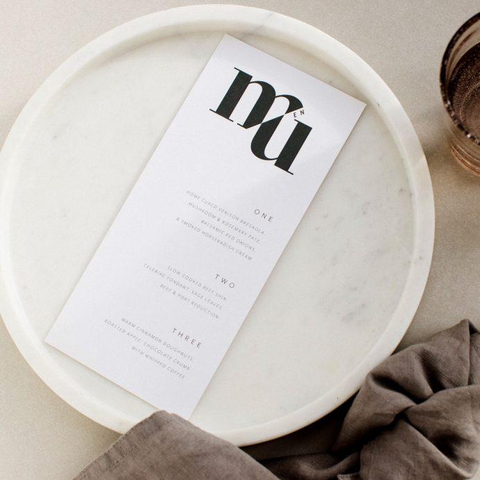 Mono Due wedding menu