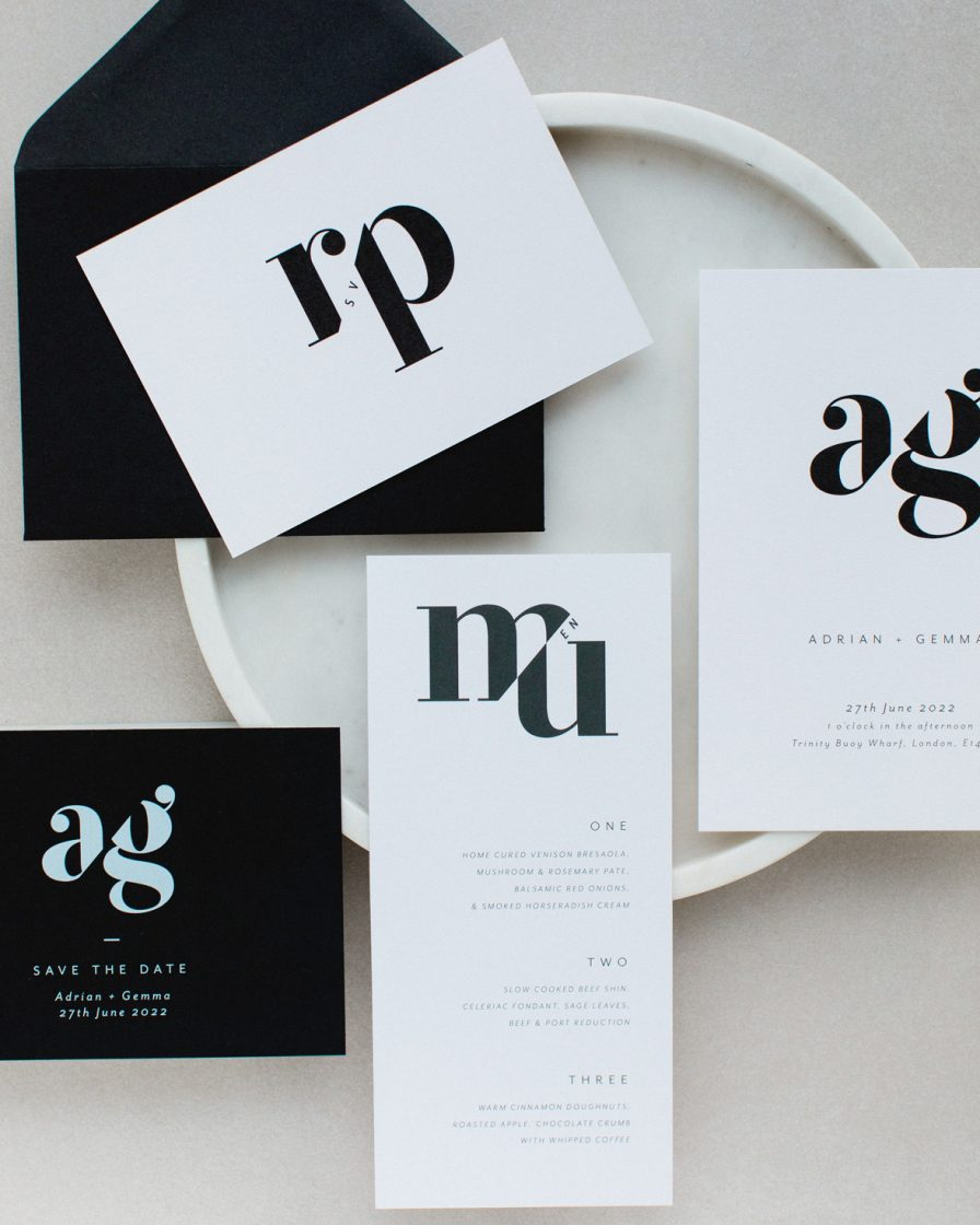 Mono Due wedding stationery collection overview