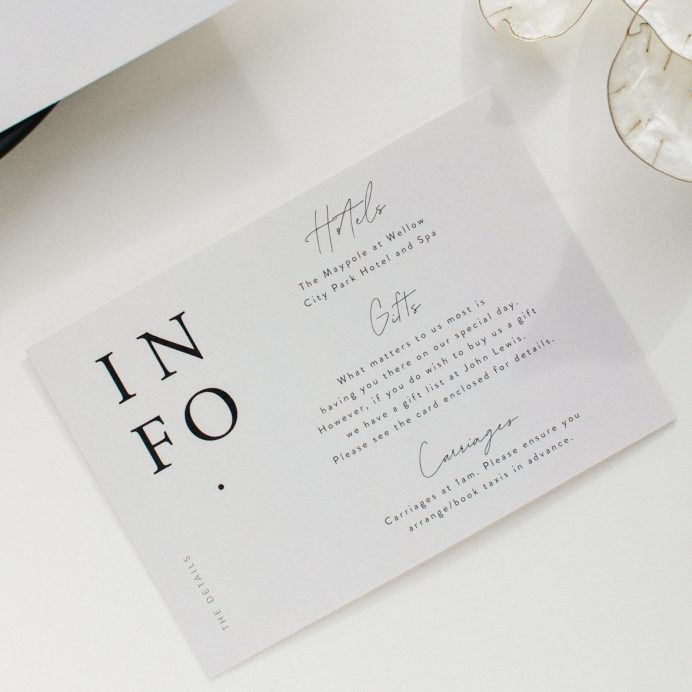 Timeless wedding information card