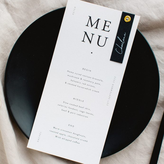 Timeless wedding menu