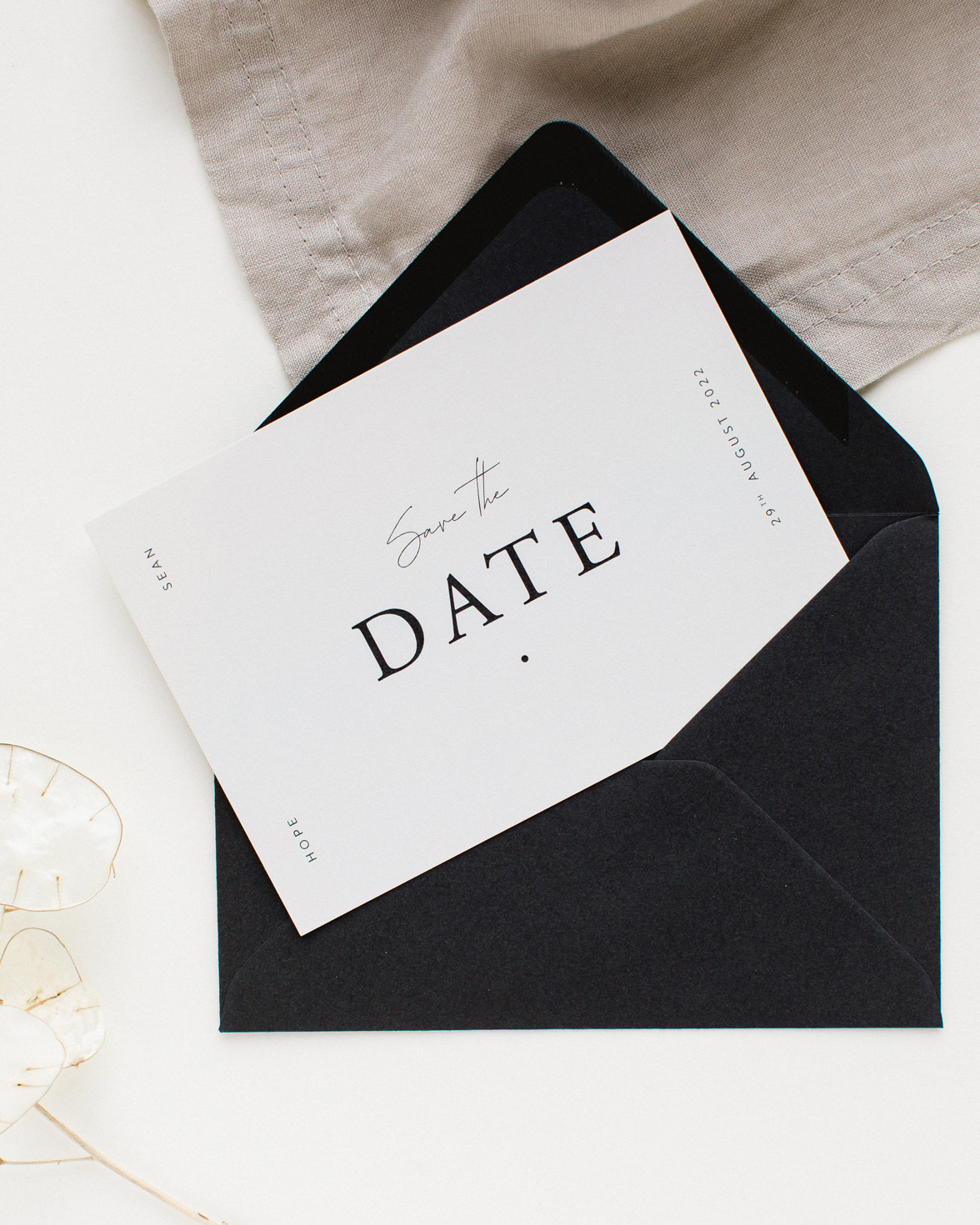 Timeless wedding save the date