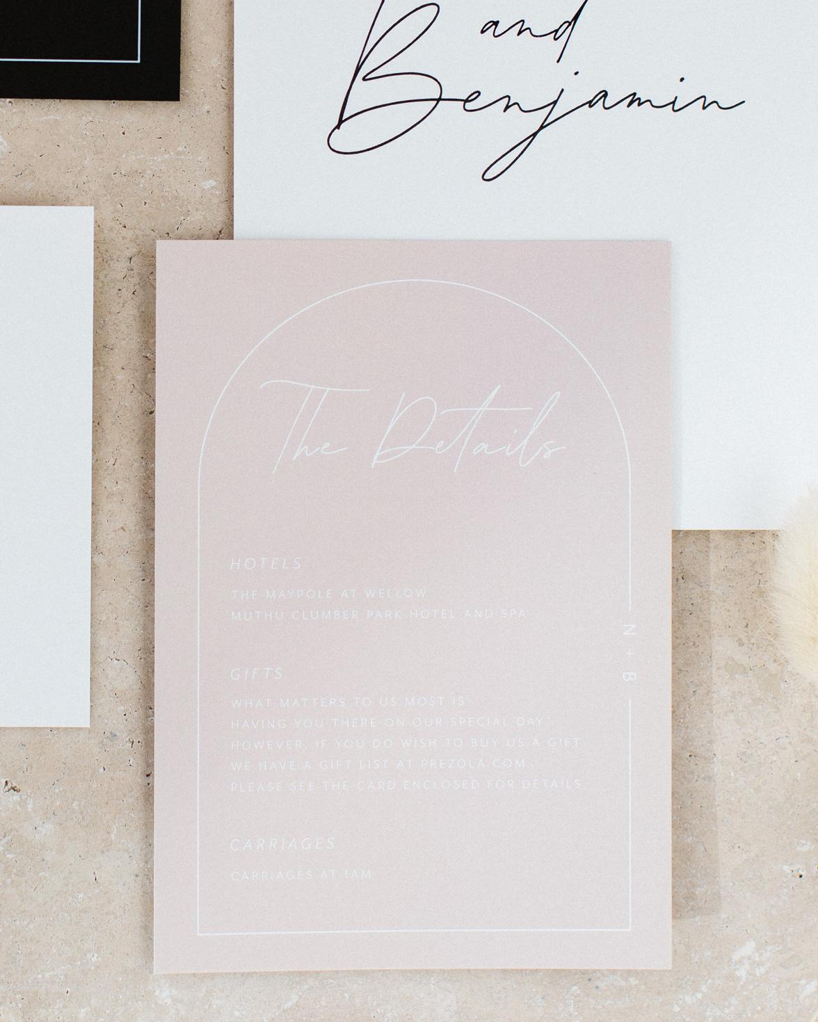 Arch Script wedding details card in blush pink