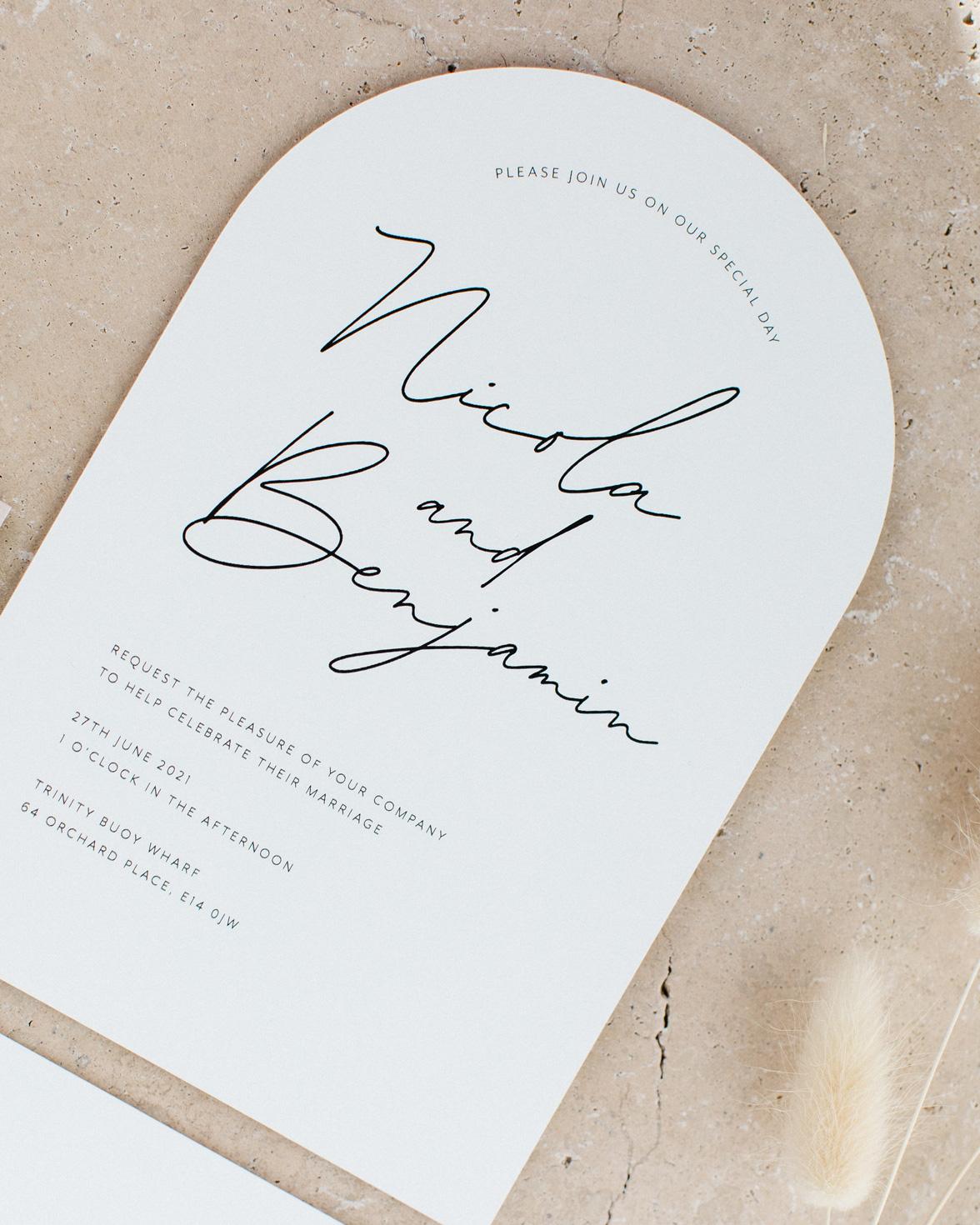 Arch Script wedding invitation. White and arch shape