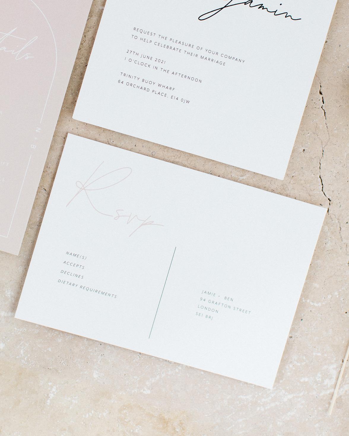 Arch Script wedding RSVP card in white