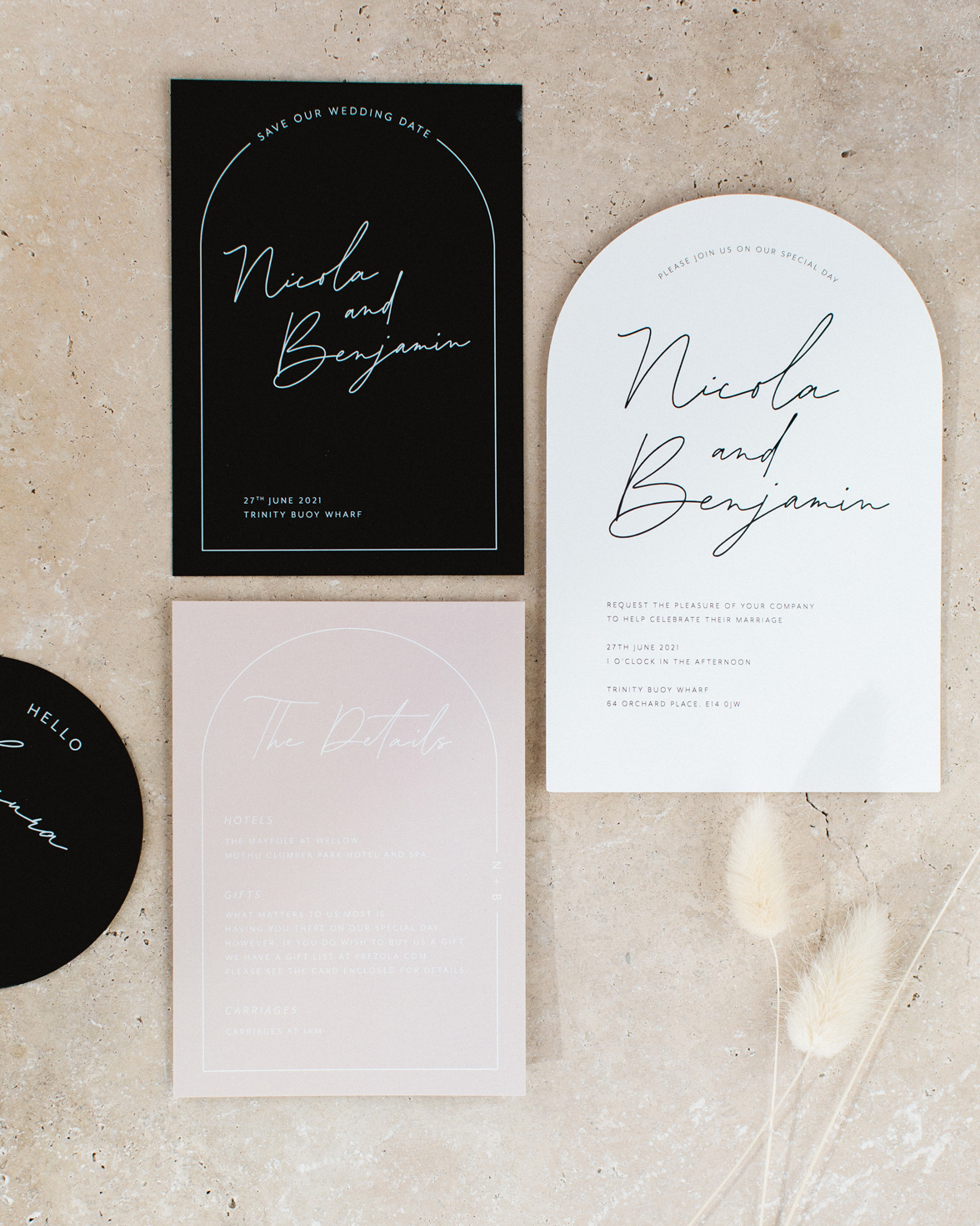Arch Script wedding stationery collection overview