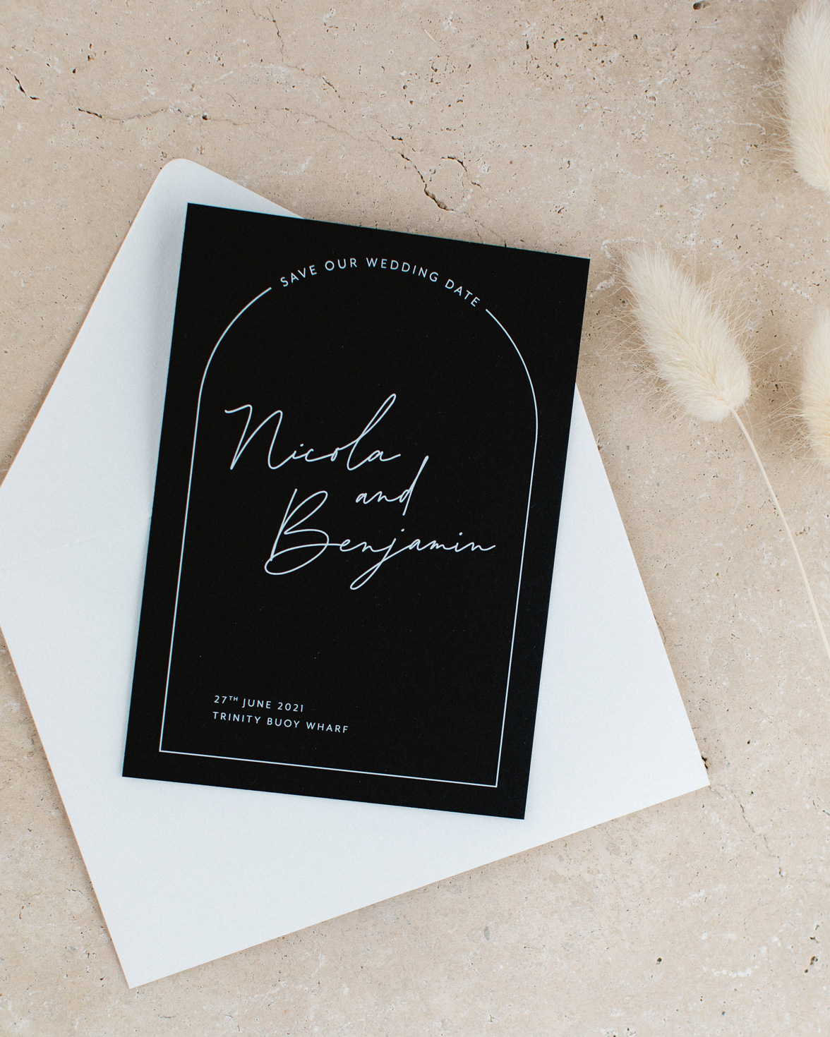 Arch Script wedding black save the date