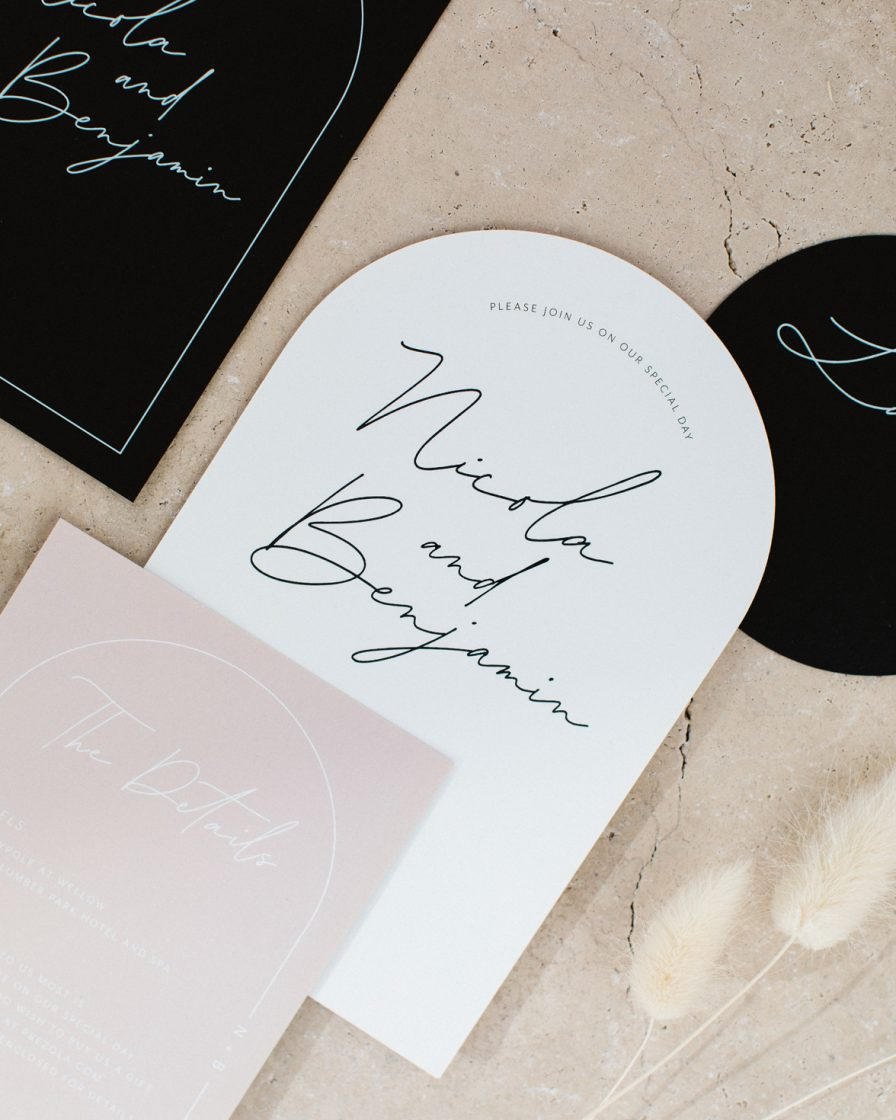 Arched Script wedding stationery overview
