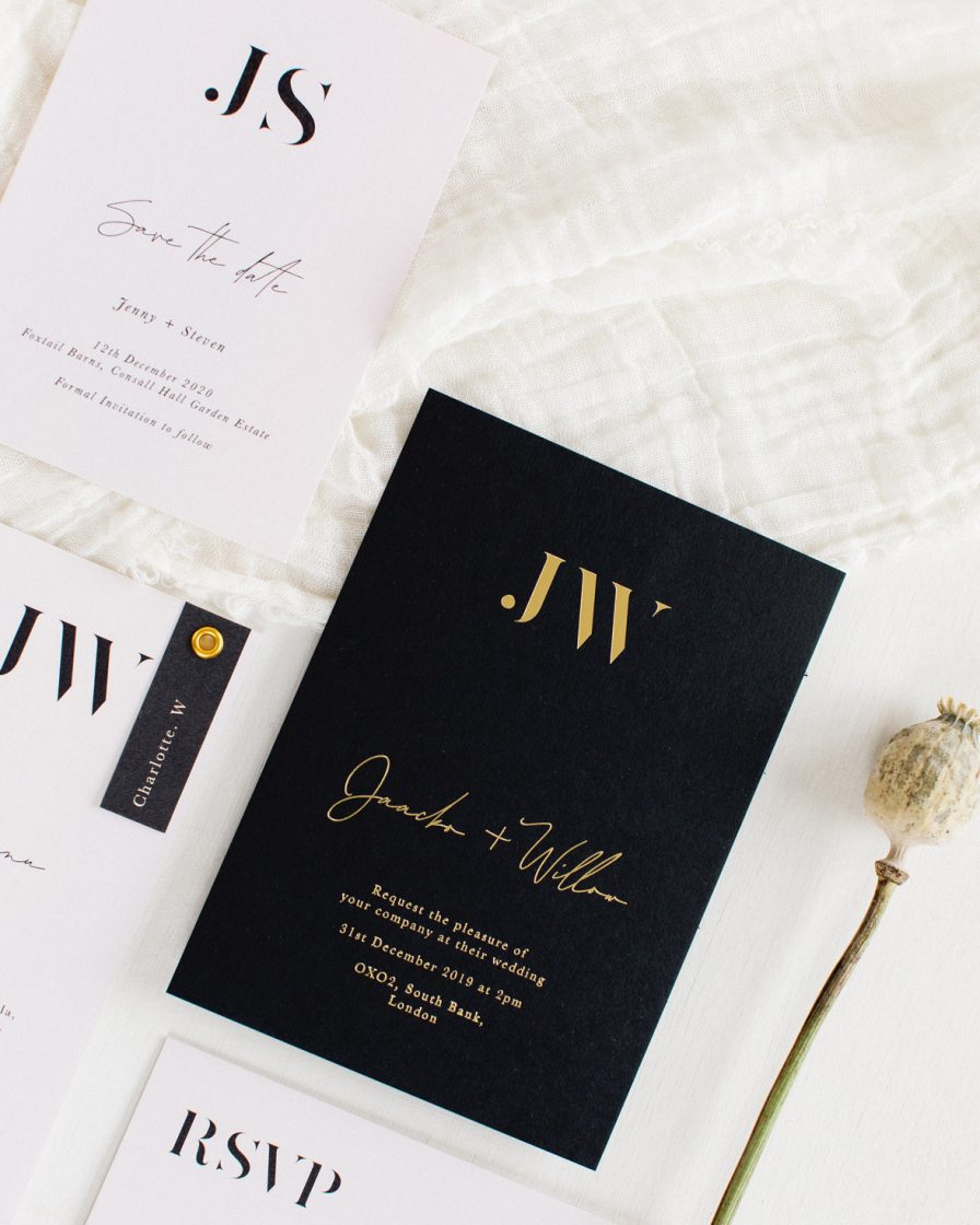 Auric Gold Wedding stationery overview