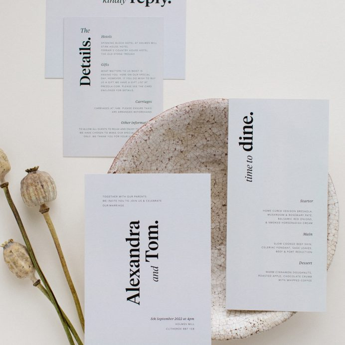 Duly Noted wedding stationery overview