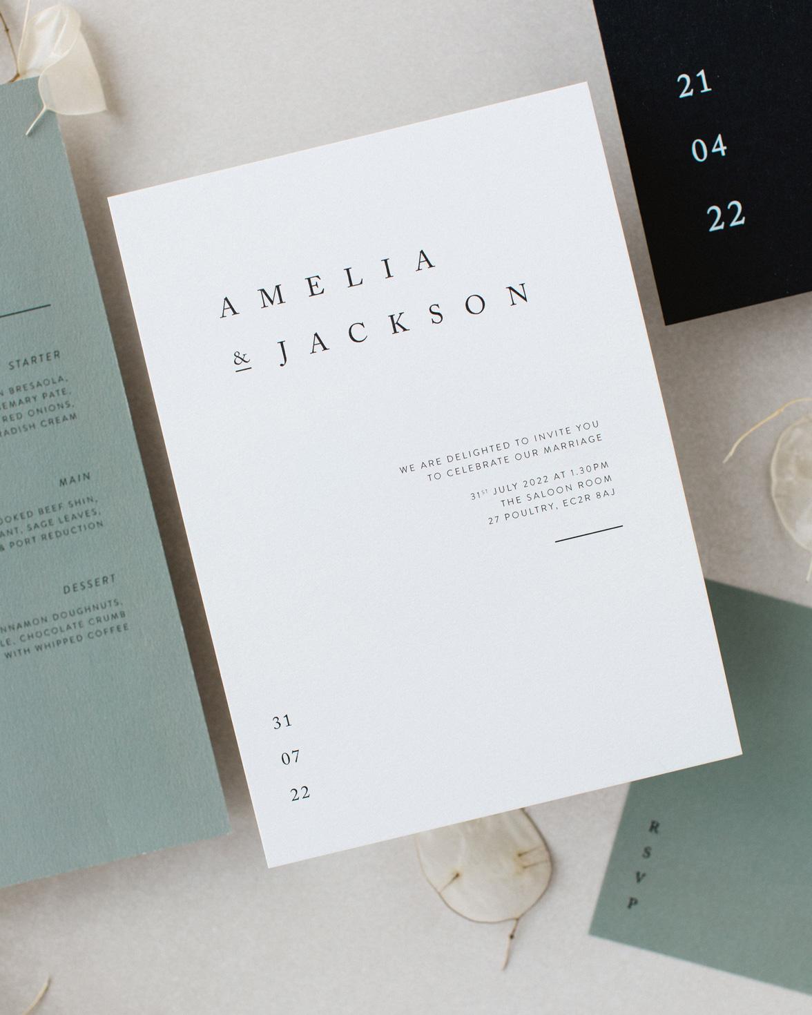 Elegant Type wedding white invitation.