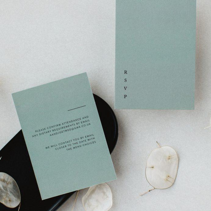 Elegant Type green wedding RSVP cards