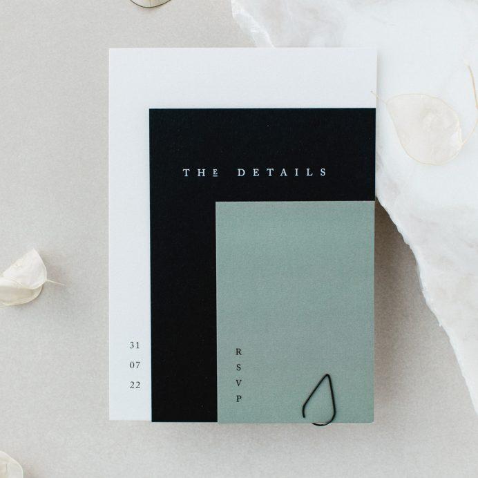 Elegant Type wedding stationery bundle with clip