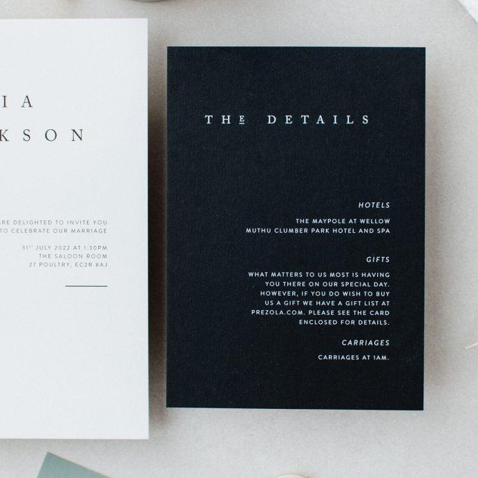 Elegant Type black wedding details card