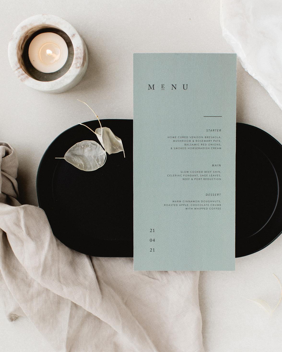 Elegant Type green wedding menu