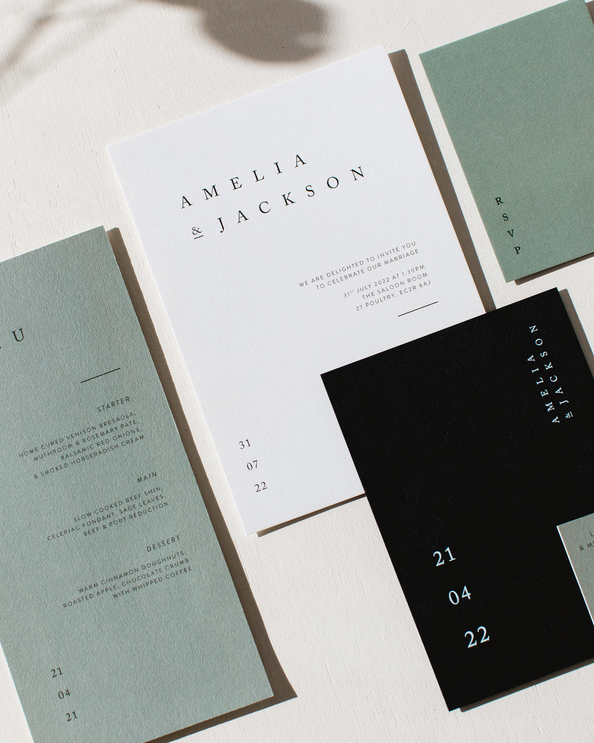 Elegant Type wedding stationery collection overview