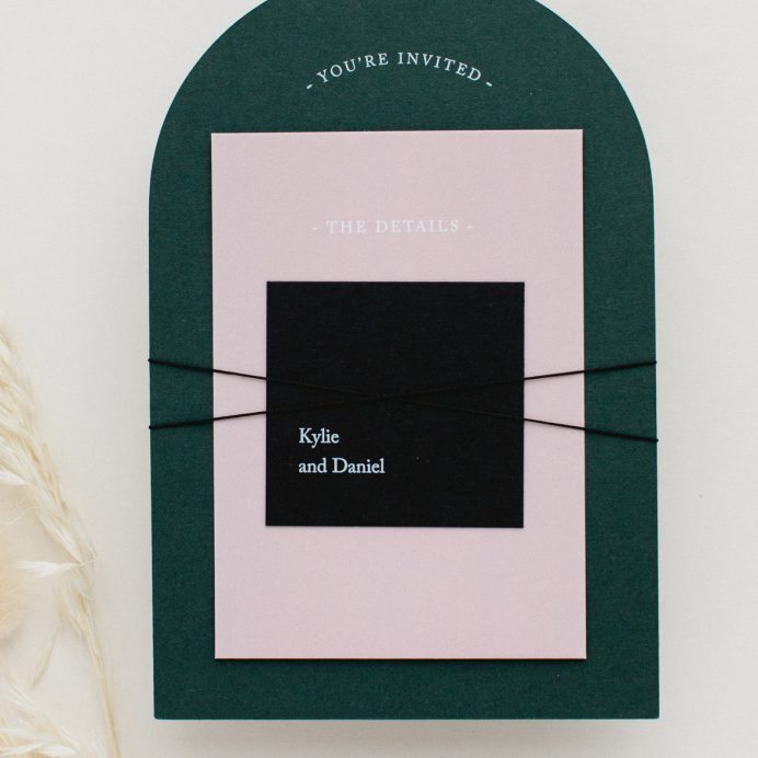 Green Revere wedding stationery bundle with black twine tie