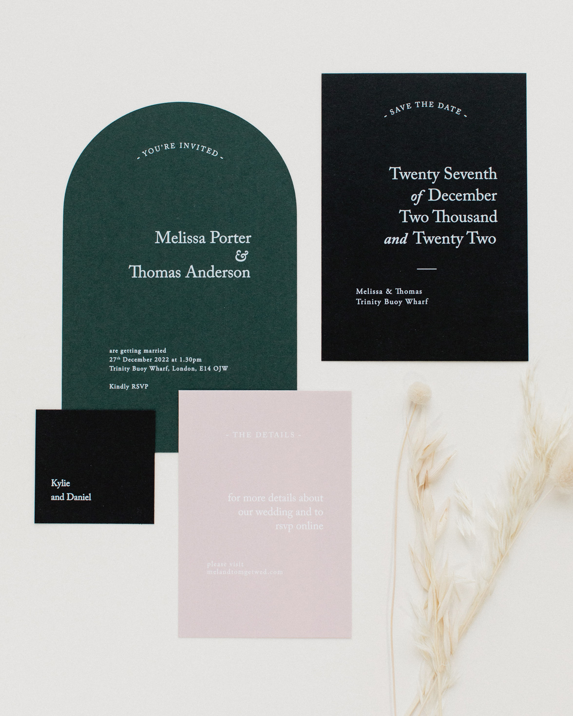 Green Revere wedding stationery collection