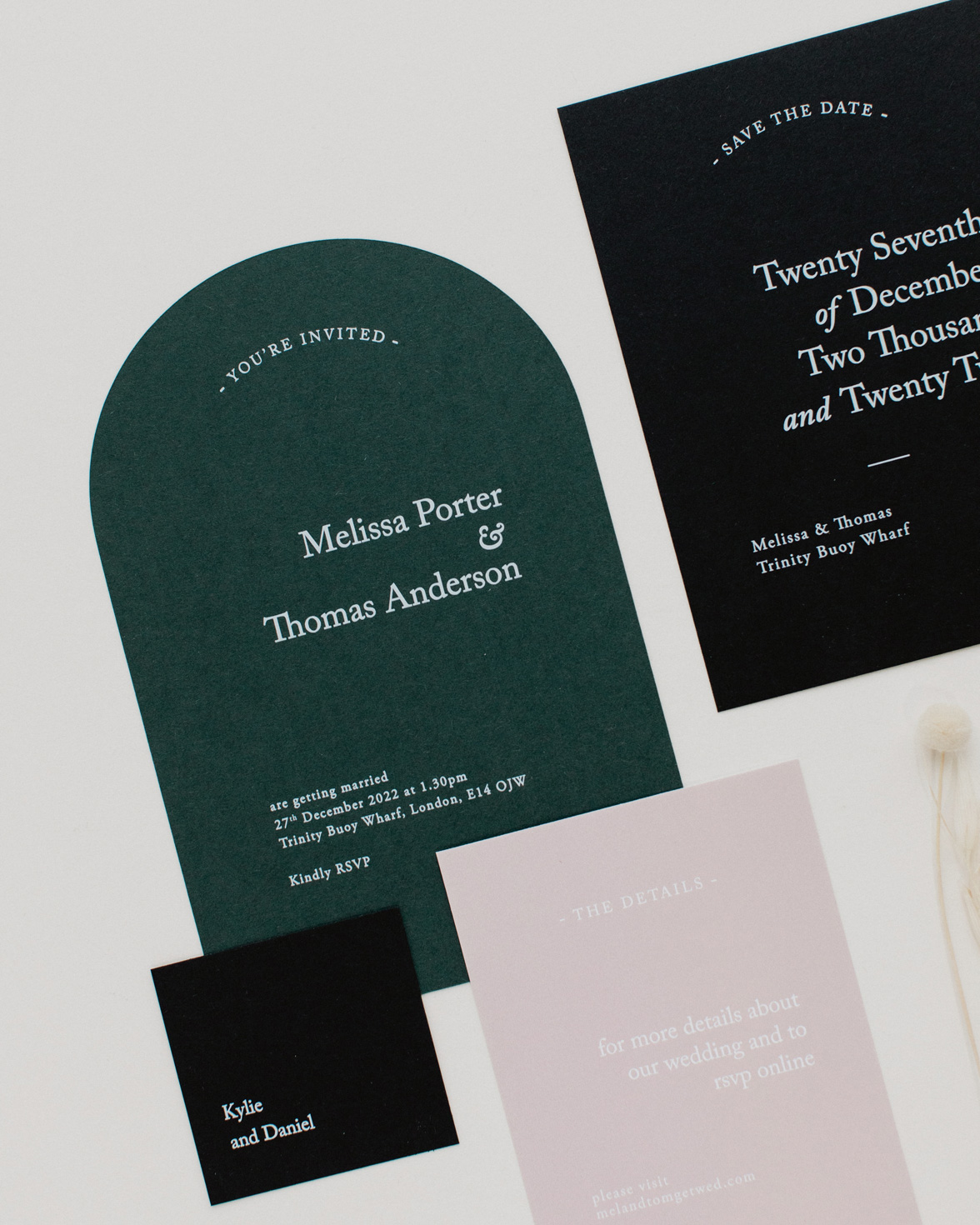 Green Revere wedding stationery collection overview
