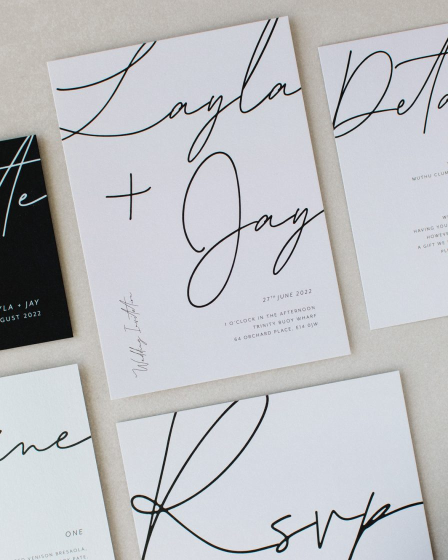 Libre Firma Wedding stationery overview