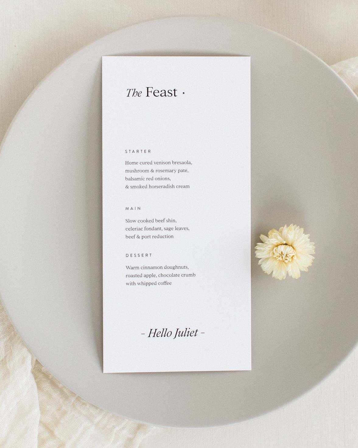 Modern revival wedding menu in cream colour