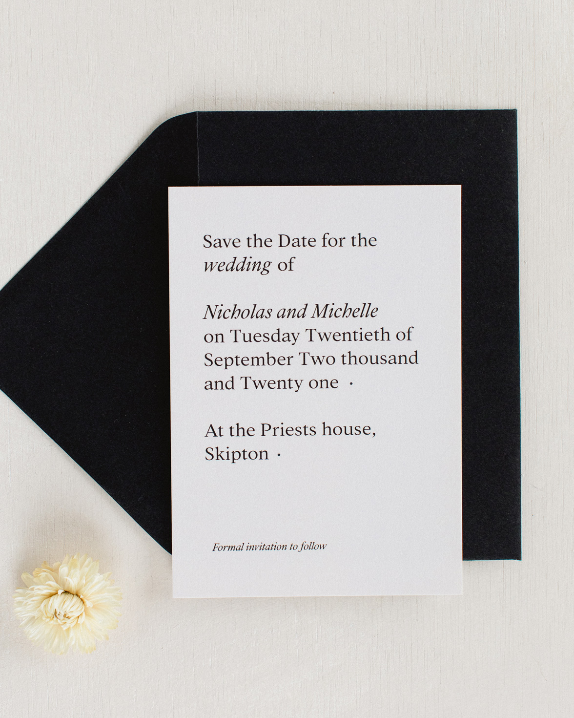 Modern revival save the date in cream colour