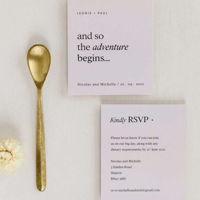 Modern revival pastel pink RSVP and guest name tag