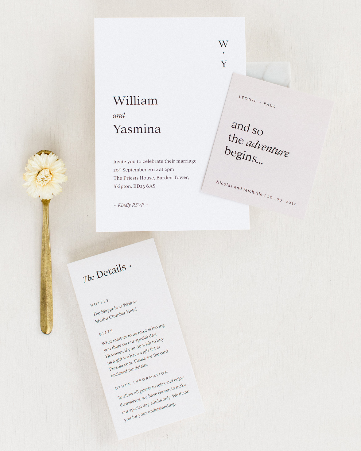 Modern Revival wedding invite, guest name tag and details card