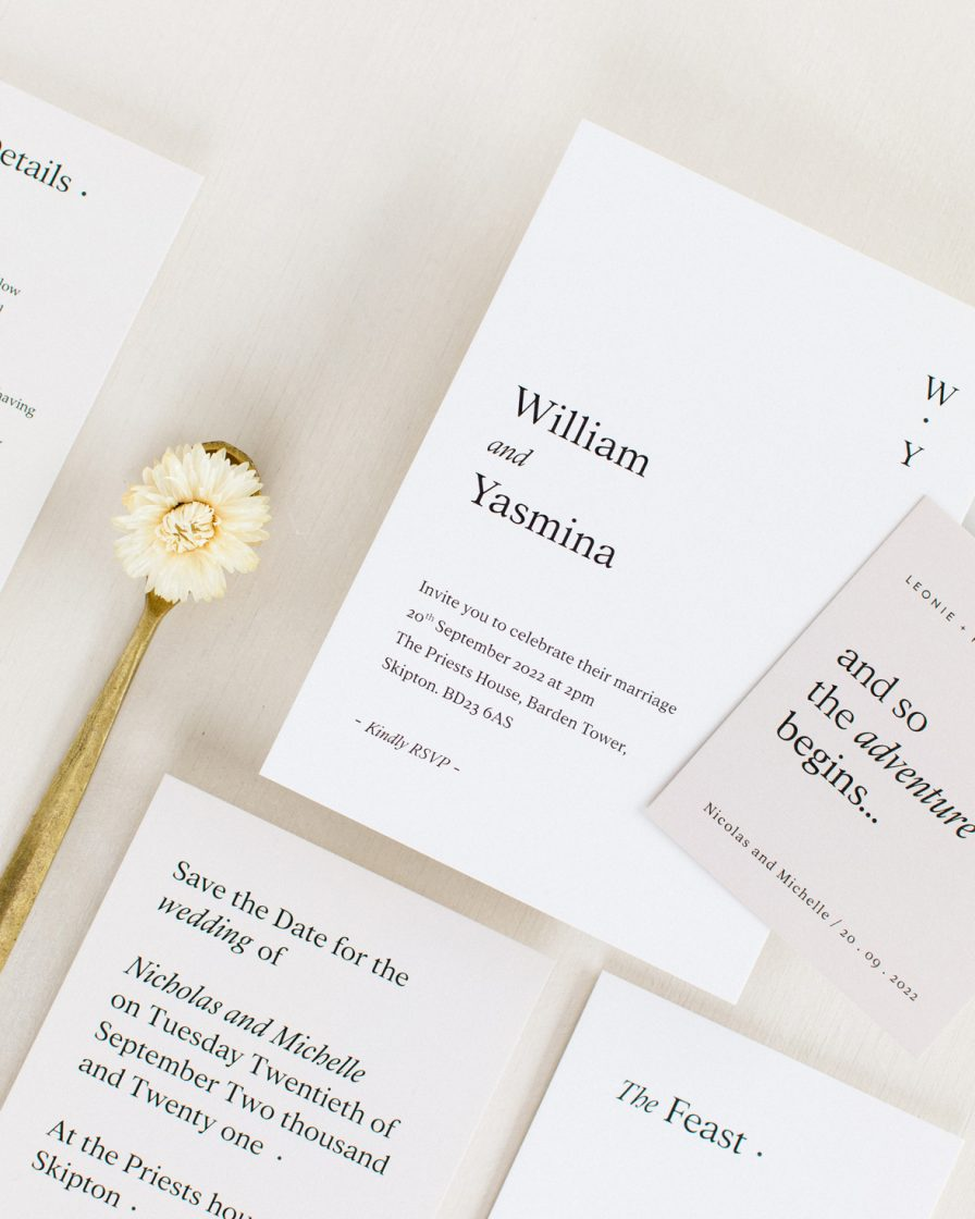 White modern wedding invitation