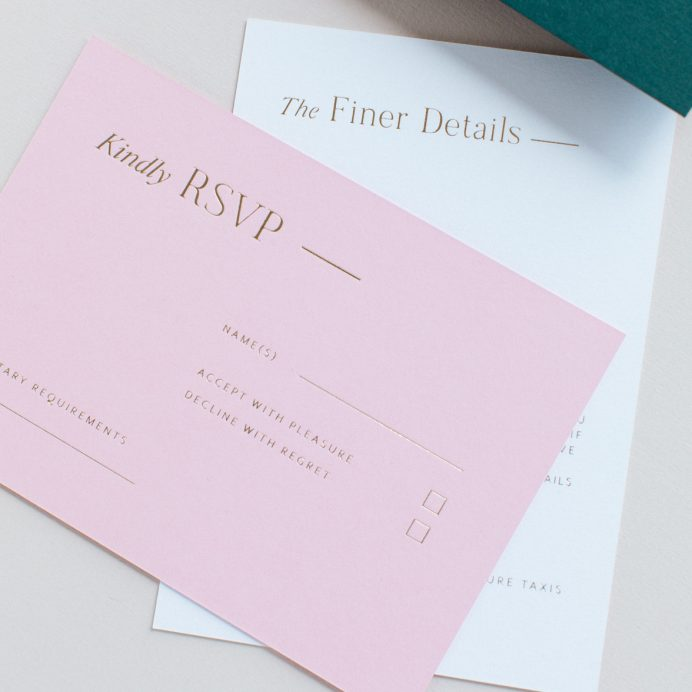 Refined gold wedding RSVP in candy pink colour with gold foil print