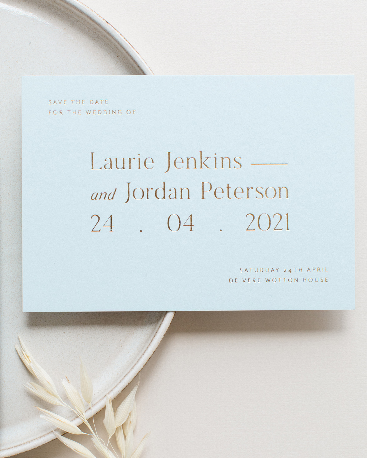 Refined gold wedding save the date in pastel blue with gold foil print