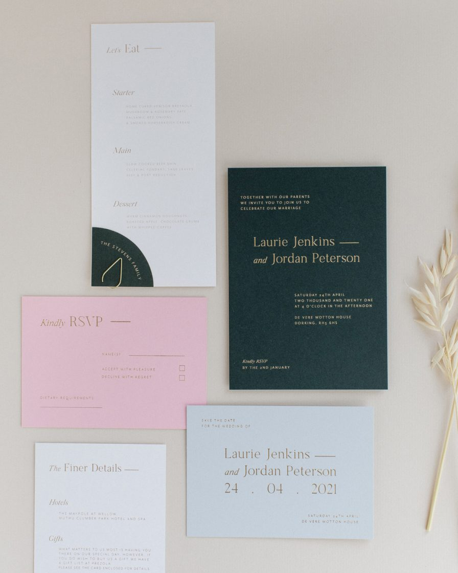 Refined gold wedding stationery overview