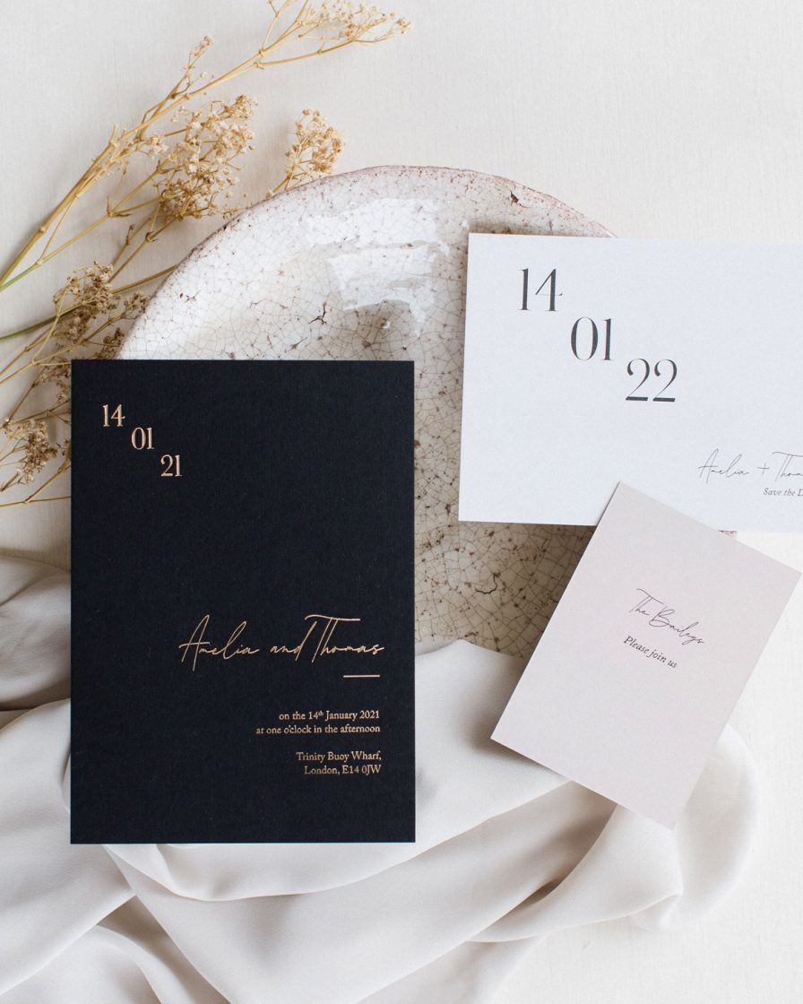 Simple Harmony wedding stationery overview